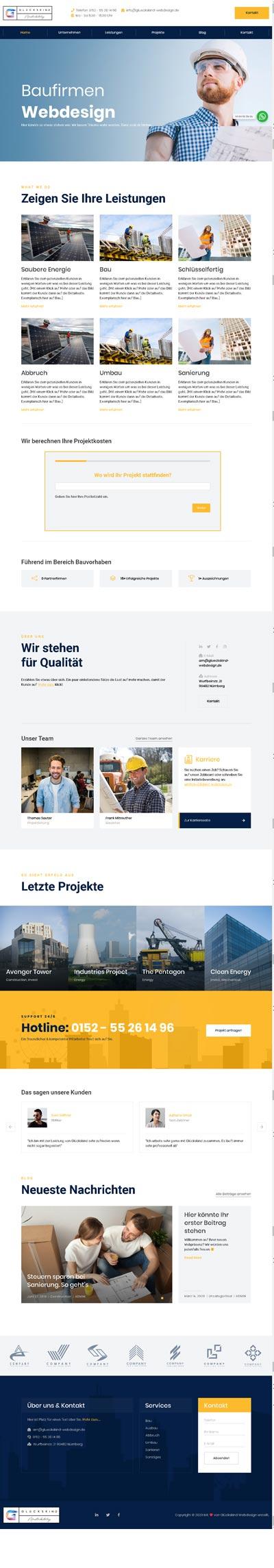 Bau Hochtief - Glückskind Webdesign Musterkatalog