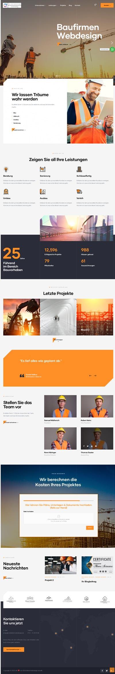 Bau Strabak - Glückskind Webdesign Musterkatalog