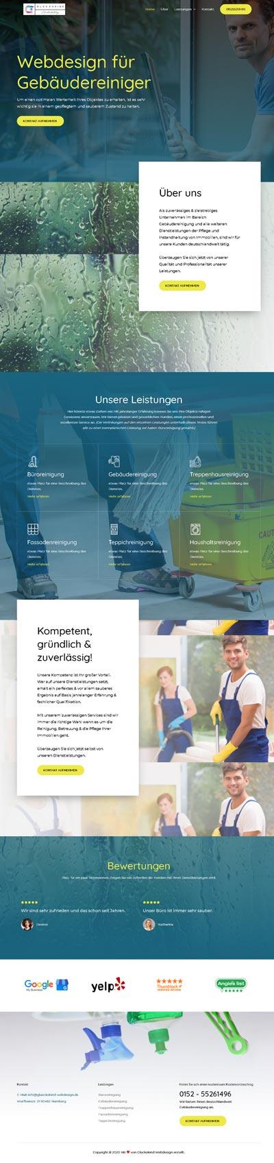 Handwerk Cleany - Glückskind Webdesign Musterkatalog