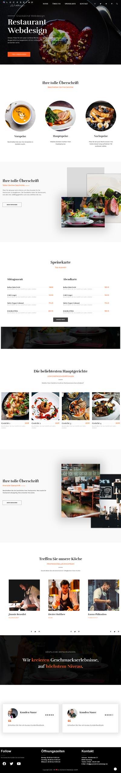 Restaurant Millau - Glückskind Webdesign Musterkatalog