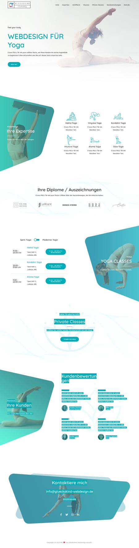 Yoga Iyengar - Glückskind Webdesign Musterkatalog