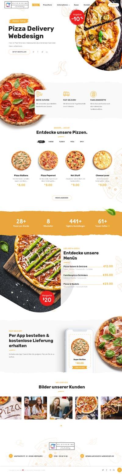 pizza webshop - Glückskind Webdesign Musterkatalog
